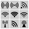 Vector clipart: Wireless technology, black web icons set